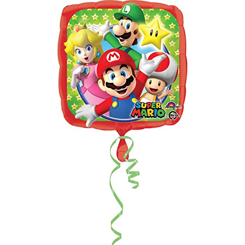 Anagram 17 Inch Square Foil Balloon - Super Mario - Mario Bros Costumes Uk