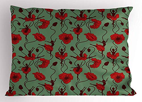 - lsrIYzy Poppy Pillow Sham, Floral Arrangement with Abstract Ballerina Dance Themed Botanical Print, Decorative Standard Queen Size Printed Pillowcase, 30 X 20 inches, Green Chesnut Brown Red
