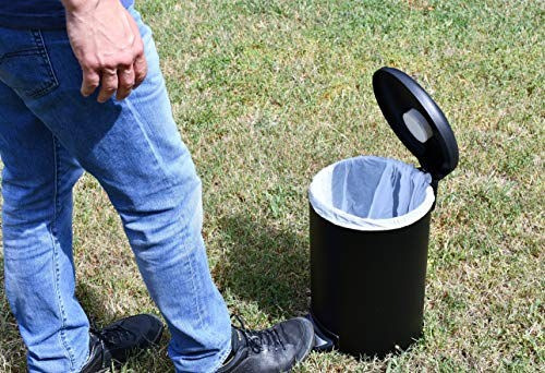 Premium Dog Waste Trash Can with Integrated Fly Trap for Small and Medium Sized Dogs (to 50 lbs.), Stainless Steel, Black, for Poop Bag, Pooper Scooper and Shovel Disposal by Garbage Can Fly Trap (Image #1)