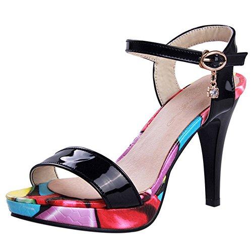 COOLCEPT Mujer Moda Al Tobillo Sandalias Punta Abierta Slingback Tacon de Aguja Zapatos Negro