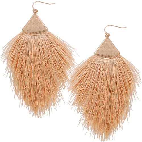 Humble Chic Fringe Tassel Statement Dangle Earrings - Lightweight Long Feather Drops, Tan, Light Brown, Beige, Khaki, Cream, Gold-Tone