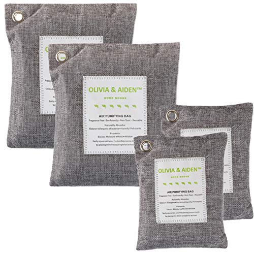 - OLIVIA & AIDEN 4 Pack- All Natural Air Freshener - Eco Friendly Odor Eliminator and Moisture Absorber -Activated Bamboo Charcoal - Car Deodorizer - Closet and Room Air Purifier |2 x 500g - 2 x 200g