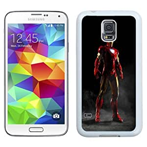 Easy use Cell Phone Case Design with Iron Man Smoke Galaxy S5 Wallpaper in White