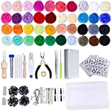 Needle Felting Kit - Wool Roving 40 Colors Set - Starter Tool Kit,Wool Felt Tools with Foam Mat Included for Felted Animal Gift Fibre Yarn Needle Felting Supplies: more info