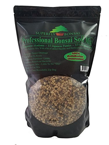 "Bonsai Soil Mix – Premium Professional, All Purpose, Sifted and Ready To Use Tree Potting Blend In Easy Zip Bag – Akadama, Black Lava, Pumice & Charcoal -""Boons Mix"" (1.25 Dry Quart) (2.5 Quart)"