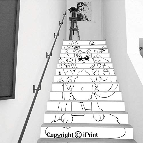 baihemiya stickers Removable Art Staircase Decals for Stairway or Home Decoration,7.1