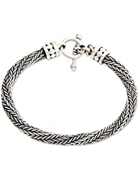 925 Sterling Silver Men's Braided Chain Bracelet, 8.75