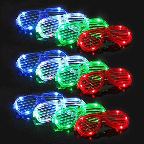 Light Up Sunglasses Bulk (M.best LED Light Up Glasses Bulk Party Favors - Glow in The Dark LED Glasses Party Supplies, LED Shutter Shades Sunglasses for Neon Party Glowing Glasses)