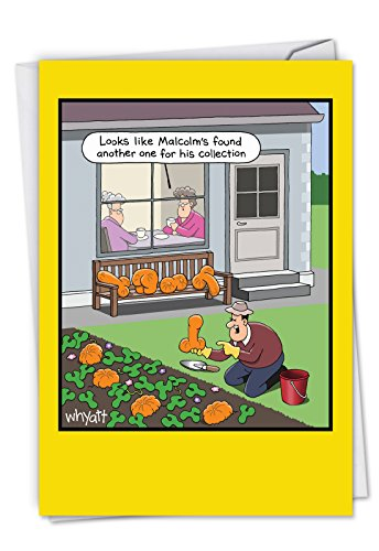 C6094HWG Rude Vegetables: Humorous Halloween Card Featuring The Inappropriately Shaped Pumpkins, with Envelope. -