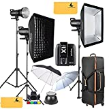 GODOX SK400II 1200W 2.4G Photography Flash Studio Strobe Kit Three 400w Sk400II Monolight Lighting,Includes 3X 400W SK400II Strobe Light+3X Light Stand+2X 60X90CM Soft Box+GODOX X1T-F for Fuji Cameras