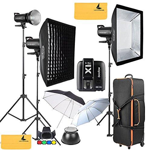 GODOX SK400II 1200W 2.4G Photography Flash Studio Strobe Kit Three 400w Sk400II Monolight Lighting,Includes 3X 400W SK400II Strobe Light+3X Light Stand+2X 60X90CM Soft Box+GODOX X1T-F for Fuji Cameras by Godox