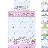 LCP Kids EULEN pink 2 teiliges Baby und Kinder Bettwäsche Set 135x100 cm + 60x40 cm Garnitur