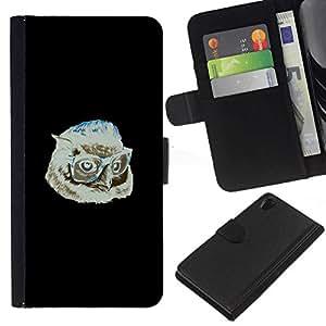 NEECELL GIFT forCITY // Billetera de cuero Caso Cubierta de protección Carcasa / Leather Wallet Case for Sony Xperia Z2 D6502 // Hipster Búho
