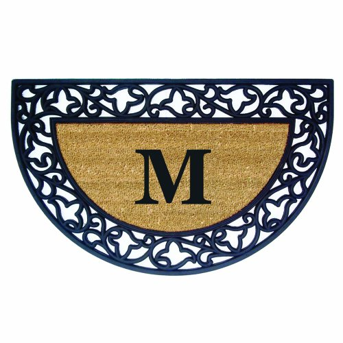 (Nedia Home Acanthus Border with Half Round Rubber/Coir Doormat, 22 by 36-Inch, Monogrammed M)