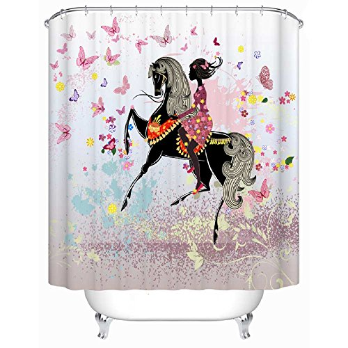 Horse Fairy Costume (EZON-CH Waterproof Modern Good Mildew Resistance Flower Fairy Riding The Horse With Butterfly Polyester Farbic Bathroom Shower Curtain(72X80IN))