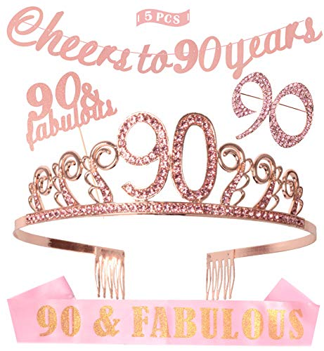 90th Birthday Decorations Party Supplies, Pink 90th Birthday Tiara]()