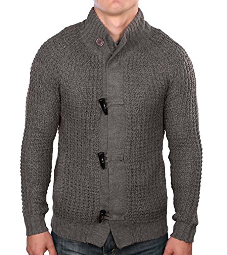 True Rock Men's Toggle Cardigan Knit Sweater-Gray-Medium (Button Cardigan Toggle Sweater)