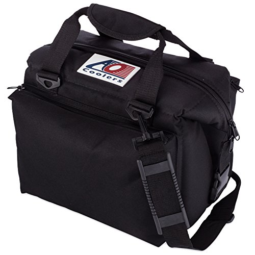 AO Coolers Deluxe Canvas Soft Cooler with High-Density Insulation, Black, 12-Can
