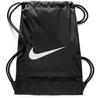 Nike Brasilia Training Gymsack, Drawstring Backpack with Zippered Sides, Water-Resistant Bag, Black/Black/White