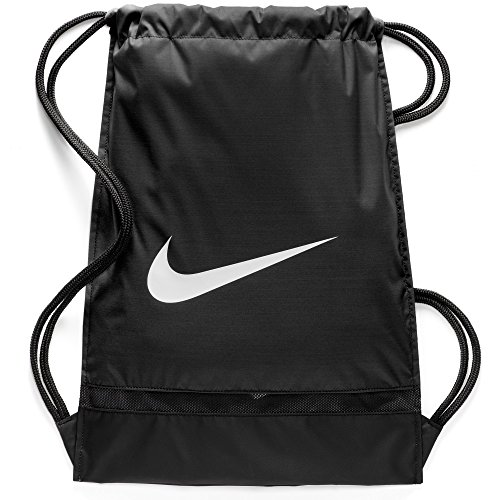 Nike Brasilia Training Gymsack, Drawstring Backpack with Zippered Sides, Water-Resistant Bag, Black/Black/White -