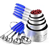 Measuring Cups : U-Taste 18/8 Stainless Steel Measuring Cups and Spoons Set of 10 Piece, Upgraded Thickness Handle(Blue)