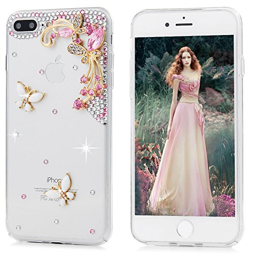 iPhone 7 Plus Case (5.5) – Mavis's Diary 3D Handmade Bling Crystal Lovely Pink Gems Butterflies with Cute White Butterfly Shiny Glitter Diamonds Rhin…