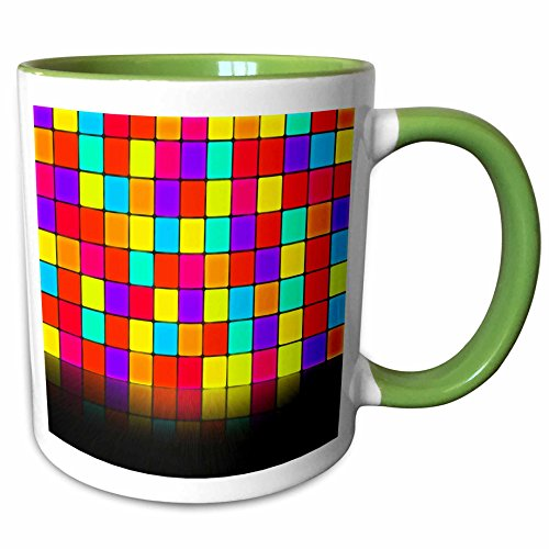 3dRose Anne Marie Baugh - Room Effects - Colorful Squares Wall With Mirrored Effect Floor - 15oz Two-Tone Green Mug (mug_213813_12)