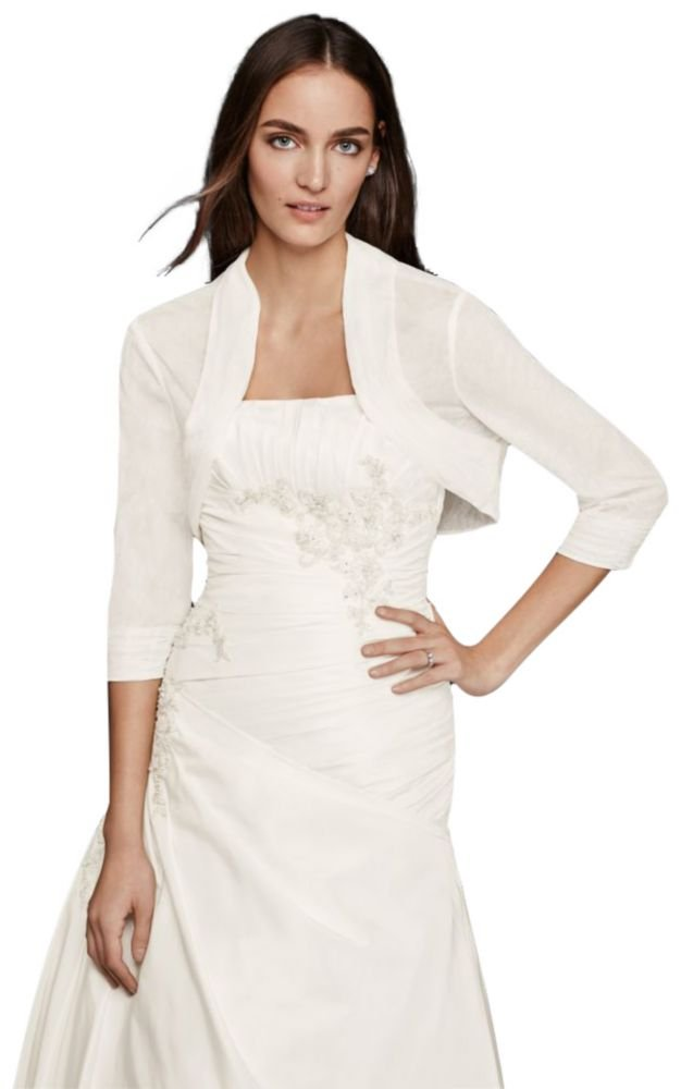 Pleated Tulle Shrug Style OW1003, Ivory, L by David's Bridal