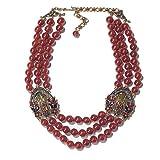 Heidi Daus Triple Strand Bead Necklace w. Swarovski Crystal With Buckle Stations New With Tag