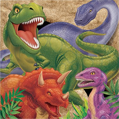 T-Rex Dinosaur Theme Party Supplies Pack (Serves-16) Plates Napkins Cups and Tablecloth - Dino Blast Party Supply Tableware Set Kit Includes Birthday Candles by Lobyn Value Pack (Image #2)