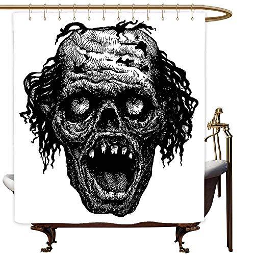 Bathroom Curtains Halloween Zombie Head Evil Dead Man Portrait Fiction Creature Scary Monster Graphic Polyester Fabric Waterproof W72x96L Black Dark Grey]()