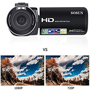 Video Camera Camcorder SOSUN HD 1080P 24.0MP 3.0 Inch LCD 270 Degrees Rotatable Screen 16X Digital Zoom Camera Recorder and 2 Batteries(301S-Plus) by SOSUN