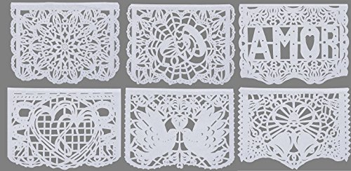 Beautiful White Large Tissue Papel Picado Banner Nuestra Boda Designs as Pictured by Paper Full of Wishes