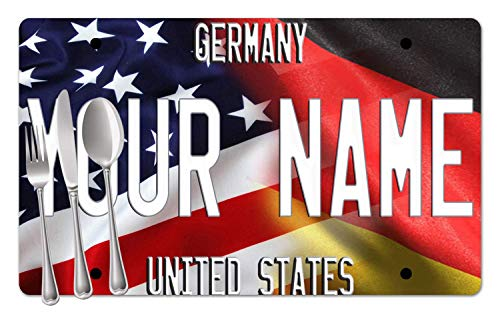 BRGiftShop Personalized Custom Name Mixed USA and Germany Flag Set of 4 Table Placemats