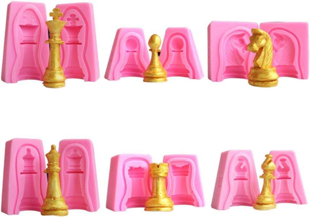 Set of 12 Cute Small Chess Piece King, Rook, Queen, Pawn, Knight, Bishop Silicone Mold for DIY Chocolate, Candy, Fondant, Cake Decor Soap Candle Wax Crayon Melt Plaster Resin
