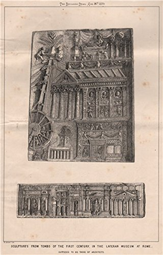 1870 Print (1C tomb sculptures, Lateran Museum at Rome; supposed to be architects - 1870 - old print - antique print - vintage print - Rome art)