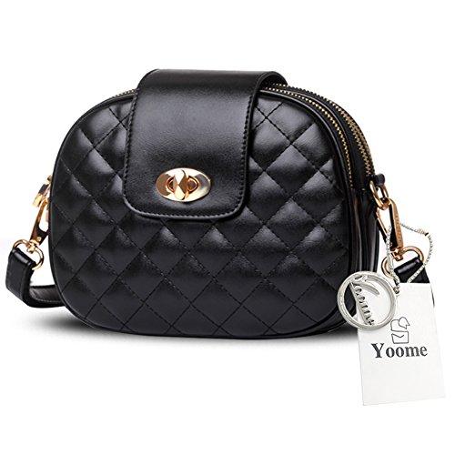 Yoome Damen Alley Style Retro Fold Tasche Kleine Taschen Für Make-up Kreis Crossbody Geldbörse Für Mädchen - Gold Schwarz OJJFxwJg6