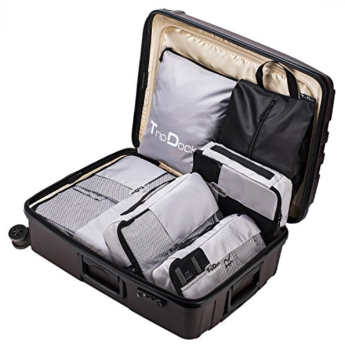 TripDock Various Packing Cubes 6 Set Lightweight Travel Luggage Organizers (1Grey(1Large+1Medium+1Small+1Slim+1 Shoes bag+1Laundry bag)) by TripDock (Image #4)