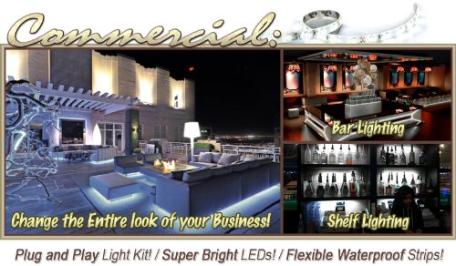 Biltek 2' ft Cool White Store Sign Retail Counter On/Off Switch LED Strip Lighting SMD3528 Wall Plug New - Storefront Windows Glass Displays DJ Bar/Night Clubs Restaurants Hotels Waterproof 220V
