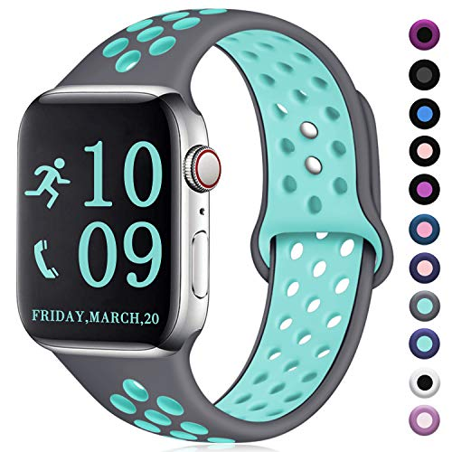 Teal Band - Zekapu Compatible with Apple Watch Band 40mm 38mm, for Women Men, S/M, Breathable Silicone Sport Replacement Wrist Band Compatible for iWatch Series 4/3/2/1,Gray-Teal