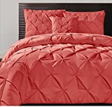 4 Piece Coral Pink Pintuck Comforter Queen Set, Pink Adult Bedding Master Bedroom Stylish Solid Color Pattern Puckered Diamond Design Geometric Tufted Elegant French Country Traditional, Polyester