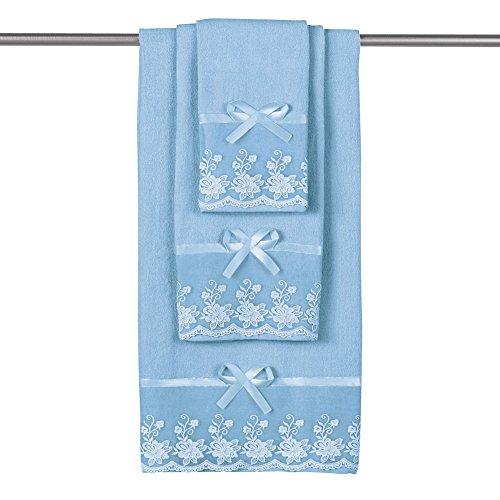 Collections Etc Lace Trim Decorative Display Bath Towel Set