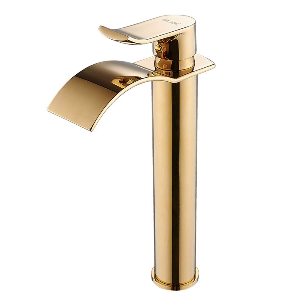 B Section - Arched gold Chongxlgy-1 Copper Hot and Cold Single Hole Basin Faucet gold Heightened European Waterfall Bathroom, B Section - Arch Curved ∕ gold