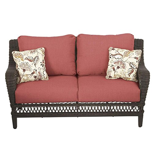 Woodbury All-Weather Wicker Patio Loveseat with Dragon Fruit Cushions