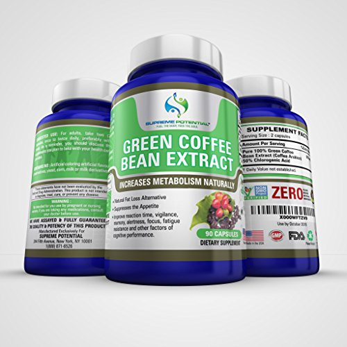 Peerless Potential 100% Pure Green Coffee Bean Extract for Natural Weight Loss and Metabolism Support - 800mg Capsules - 90 Capsules - 45 Day Cache - Manufactured in USA.