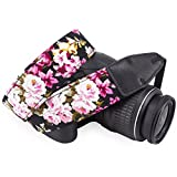 DSLR / SLR Camera Neck Shoulder Belt Strap - Wolven Cotton DSLR/SLR Camera Neck Shoulder Belt Strap for Nikon Canon Samsung Pentax Sony Olympus or Other Cameras - Black Flower
