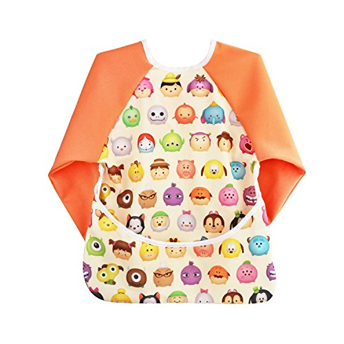 Hi Sprout Unisex Infant Toddler Baby Super Waterproof Sleeved Bib, Reusable Bib with Sleeves& Pocket, Multi Patterns, 6-24 Months (cute face)