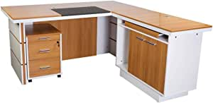 Mahmayi Metal/Wood Zelda Modern Executive Desk, ZHM230-16, Walnut/White, H76.5 x W180 x D160 cm