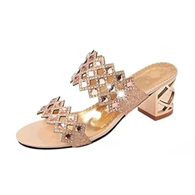 69ee17d1e2e30 Femme Fashion Strass Bloc Talons Plate-Forme Sandales Ouvert Toe Anti-Slip  Glitter Chaussures