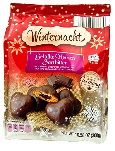 Winternacht Gefullte Herzen Zartbitter Traditional German Cookies Heart-shaped Soft Gingerbread Covered in Dark Chocolate with Apricot Fruit Filling